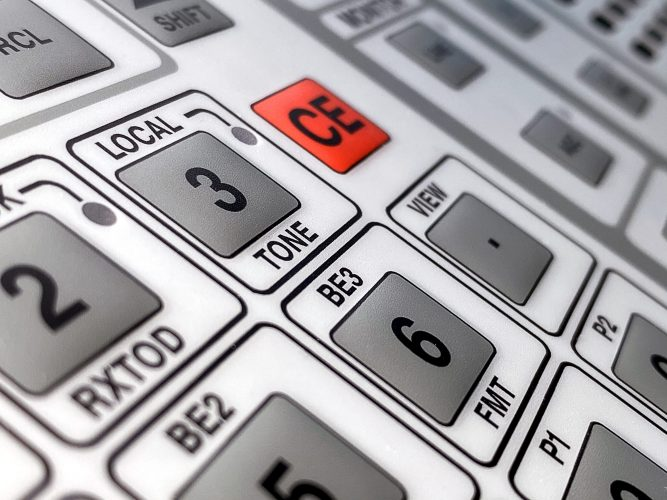 Membrane Keypad with embossed buttons for military use - close up. Interface and Graphic Solutions.
