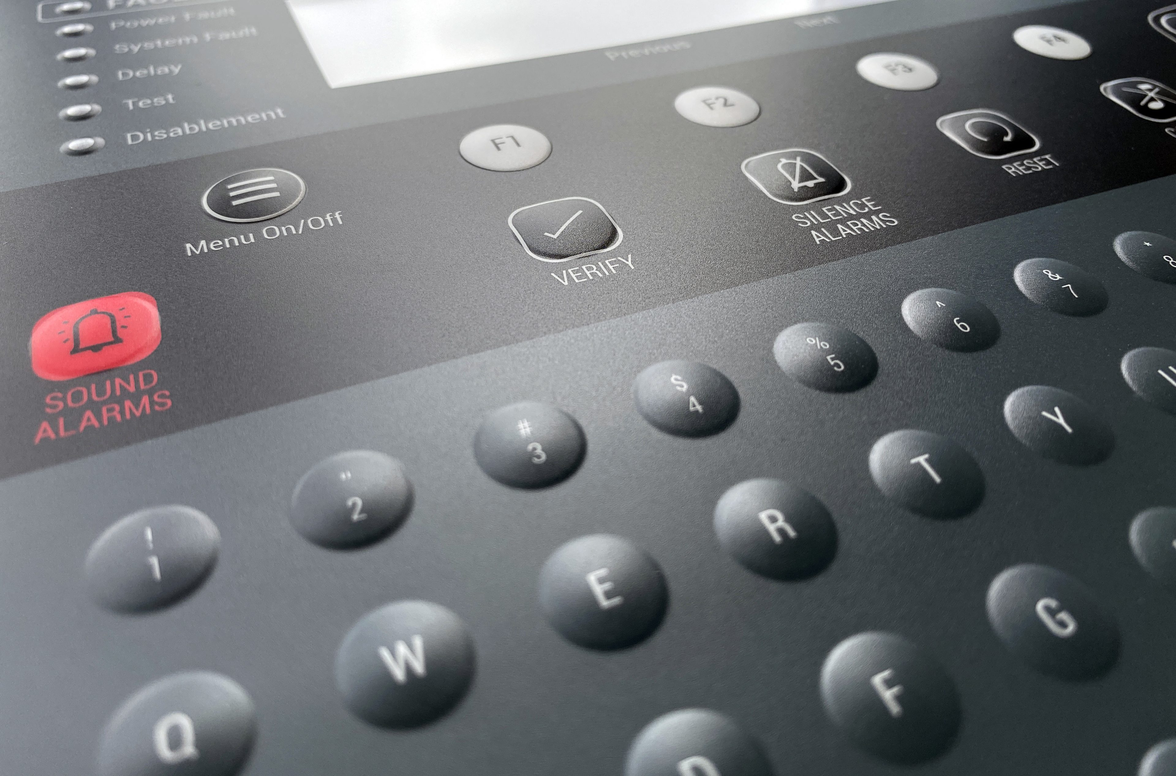 Membrane Keyboard Fire Alarm Control Panel w Embossing - close up