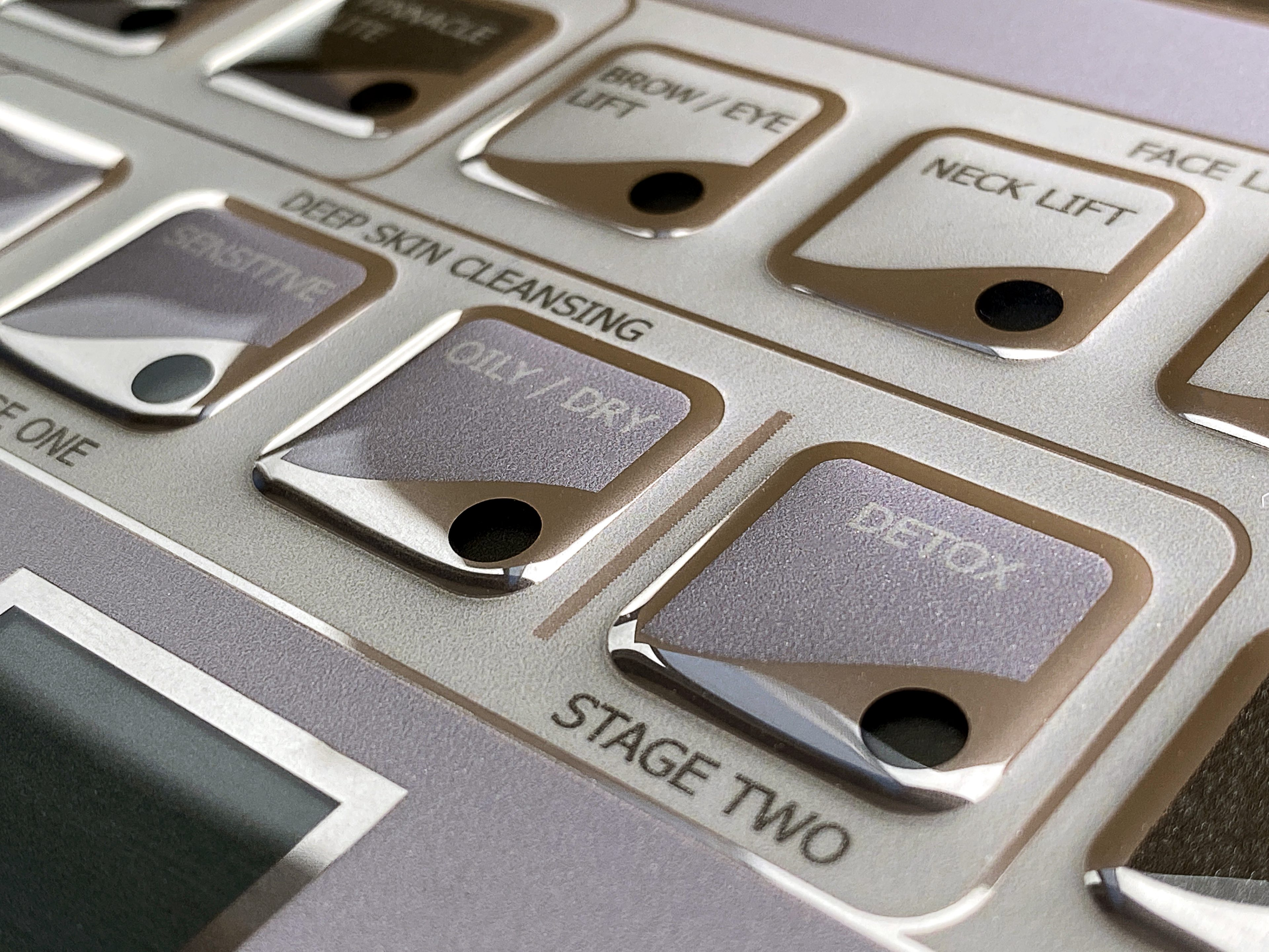 Membrane Keypad w embossing and metallic effect - close up