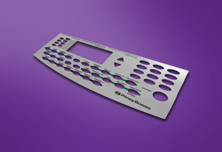 FI- A graphic overlay with a brush metal effect, tactile surface