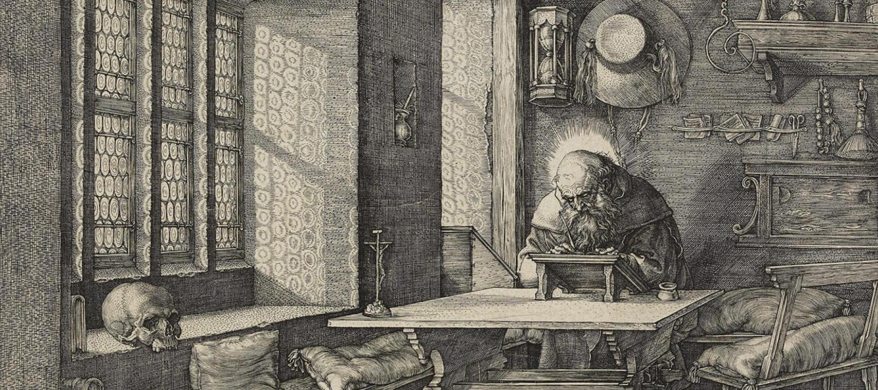 Albrecht Dürer Renaissance Etching, Saint Jerome in His Study 1514