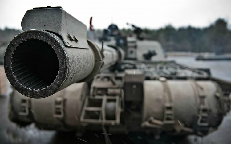 Looking down the barrel of a Challenger 2 tank