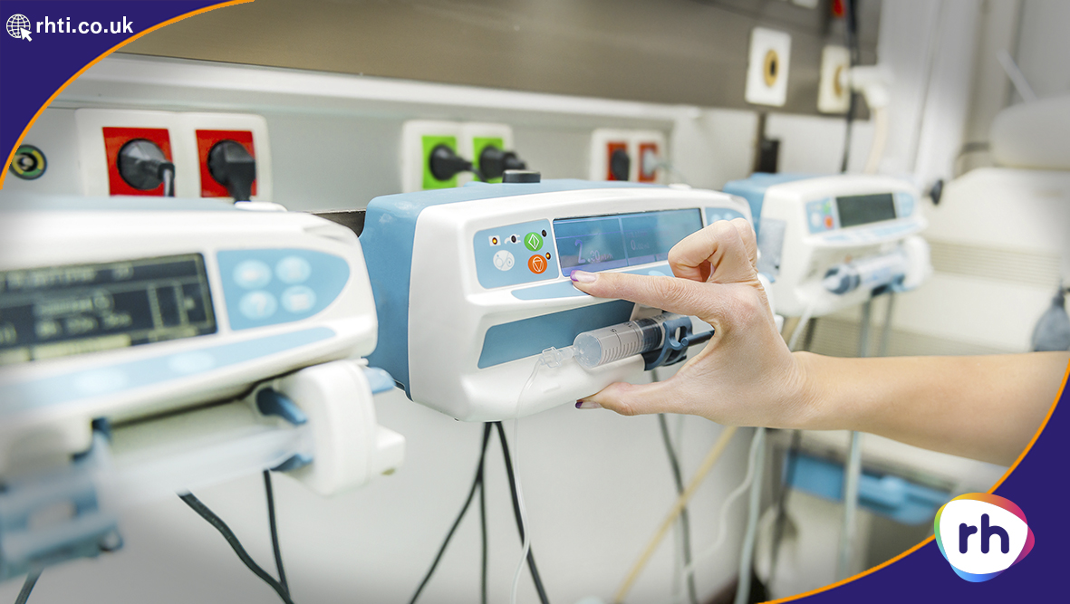 A medical syringe pump in a hospital intensive care ward. Membrane Keypads are Perfect for the Medical Sector