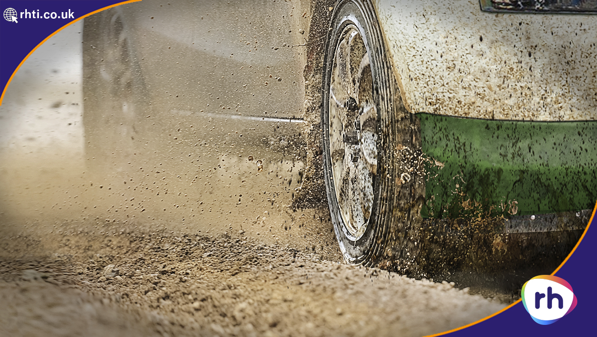 Rally Racing Car in mud - Resin Doming used on the steering wheel controls