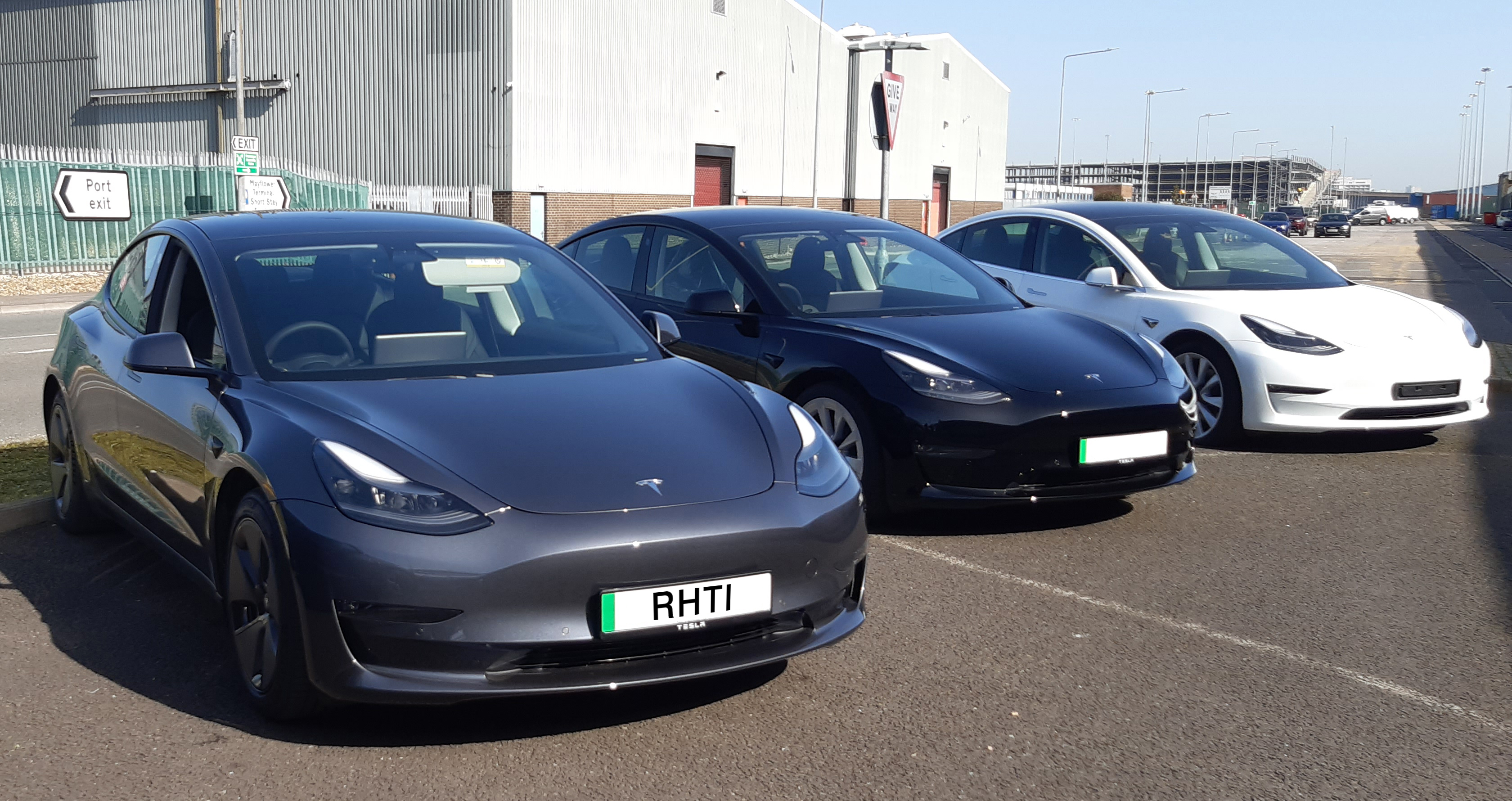 Telsa Model 3 Silver collection from Southampton Docks